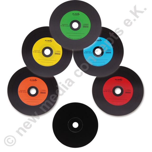 Vinyl CD Blanks Carbon 10 Pcs 700 MB for Archiving Dye Black 5 Colors