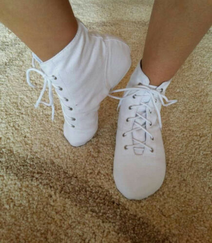 Adult kids Jazz Dance Shoes Soft Canvas Split Sole Lace Up Ballet Shoe Gymnastic
