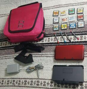 Nintendo-3DS-fire-red-SET-12-GAMES-case-DOCK-Mario-ZELDA-Animal-Crossing