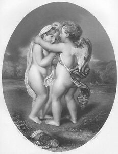 CUTE-LITTLE-TODDLER-BOY-GIRL-CUPID-amp-PSYCHE-Old-1863-Art-Print-Engraving-RARE