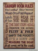 "Vintage Primitive wood sign 12"" x 18"" TAN LAUNDRY ROOM Rustic Antique Home Decor"