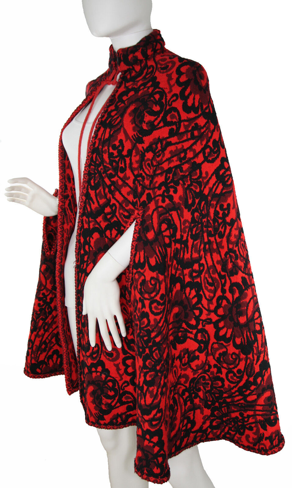 9b47dfaed Vintage Red Woven Floral Paisley Tapestry Cape c. 1960's-1970's, O S Nordic  Wool nriqjl10959-Coats,Jackets & Waistcoats
