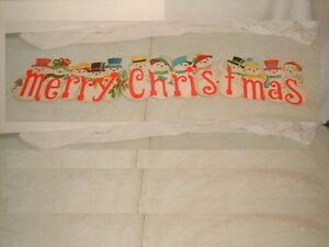 Christmas decoration snowmen cardboard die cut paper novelty merry 1960s