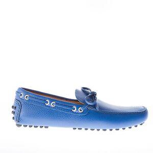 CAR-SHOE-scarpe-uomo-men-Mocassino-driving-pelle-blu-cobalto-con-laccetto