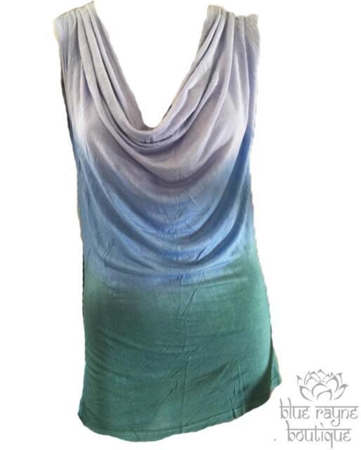 Soft Ombre Dip Dyed Fair Trade Cowl Neck Tank Top Bohemian Tunic Sea Blue & Teal