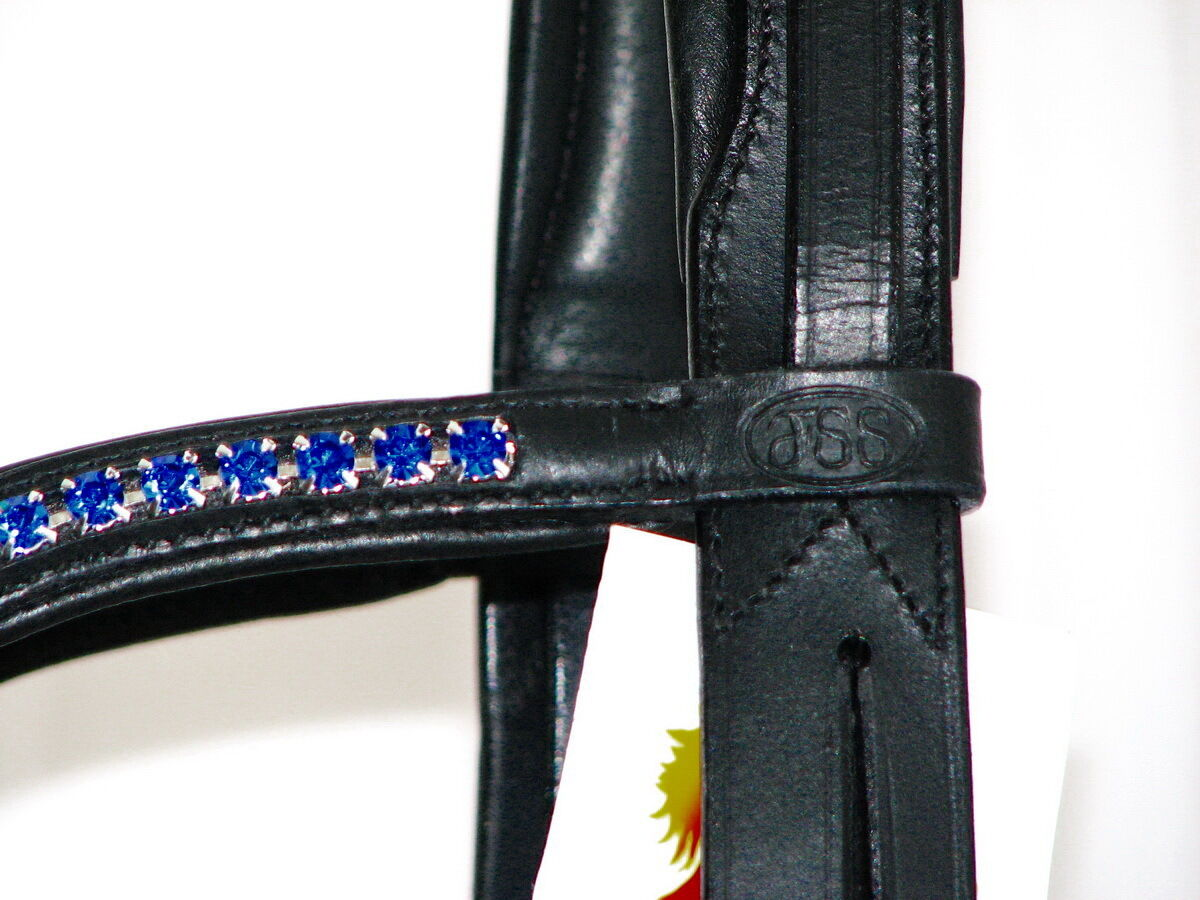 FSS 6mm Crystal ROYAL SAPPHIRE Benetton Blau Blau Benetton Bling Padded Curve V Browband New a7b1a3