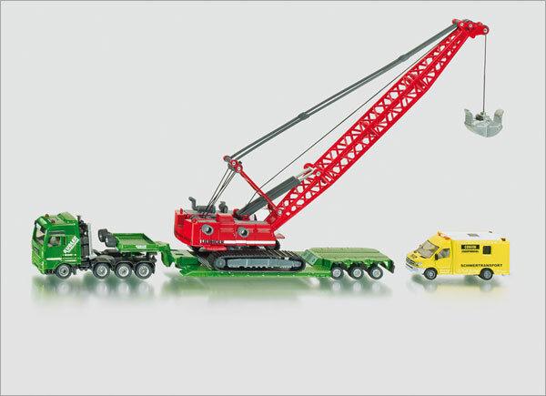 SIKU Spielzeug LKW Schwertransporter mit Seilbagger & Begleitfahrzeug / 1834