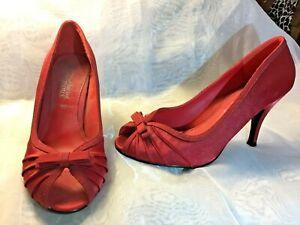 Womens Ladies Satin Red Peep Toe/Bow