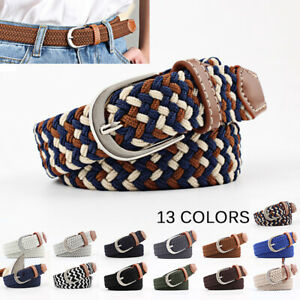 Men-039-s-Women-039-s-Stretch-Braided-Elastic-Woven-Canvas-Buckle-Waistband-Waist-Belt
