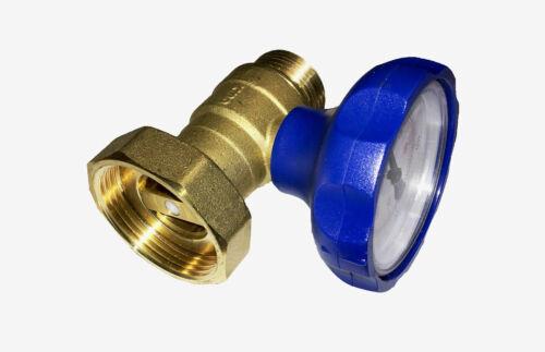 """Kugelhahn mit Thermometer Blau 1/"""" IG x 1 1//2/"""" ÜWM mit Rückflussverhinderer"""