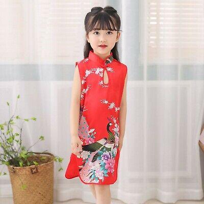 Chinese Childrens Girls China Red and Oriental Cranes Qipao Cheongsam Dress gcd5