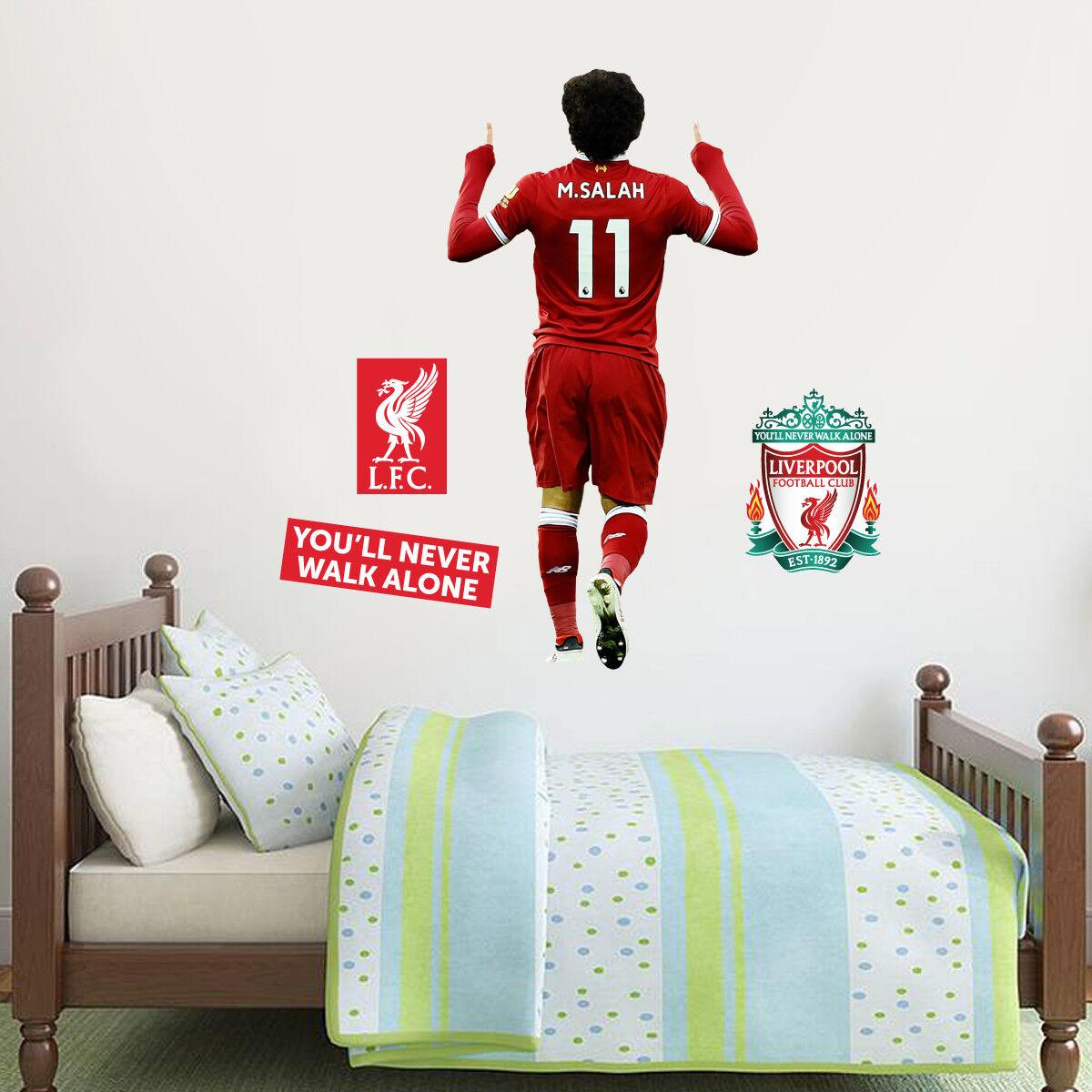 Mo Salah celebración Mural De Conjunto Pared + Conjunto De De Pared Adhesivo Calcomanía Liverpool LFC 549058