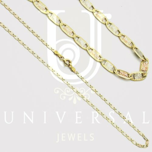 """10K Solid Yellow White Rose Gold Chain Necklace 1.5MM 16-24/"""" Valentino"""