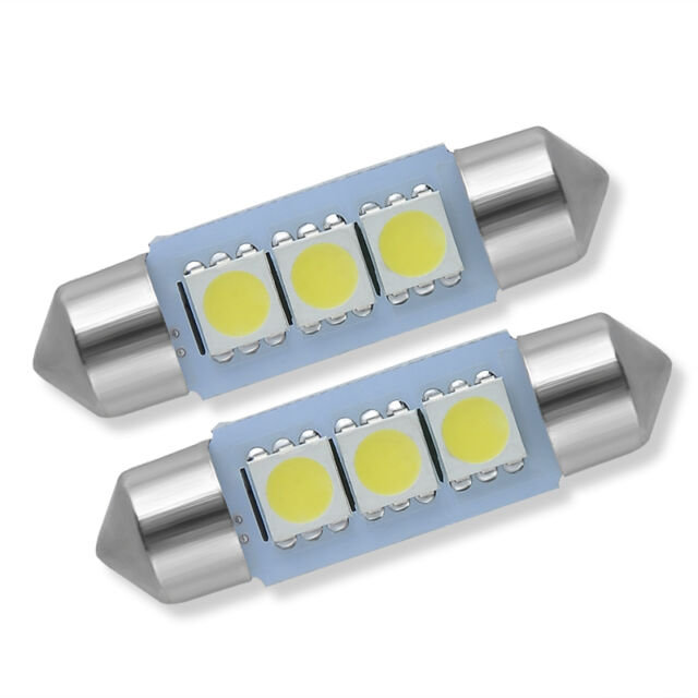 10Pcs White 36MM 3 LED 5050 SMD Festoon Dome Car Light Interior Lamp Bulb 12V Q