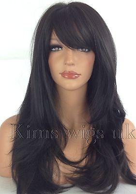 FULL LONG WOMENS LADIES FASHION HAIR WIG  BLACK/DARK BROWN HEAT RESISTANT UK