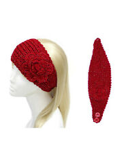 Red and Metallic Flower Knit Head Band