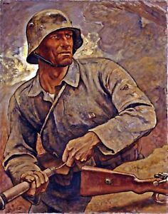 War Art Repro on Canvas or Paper The Last Grenade by German Painter Elk Eber