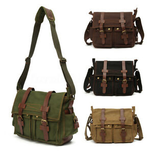 92c1201511 Men s Vintage Canvas Leather Satchel School Military Shoulder ...