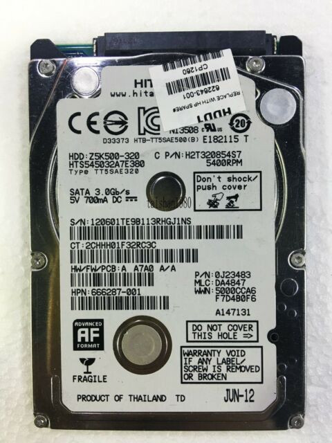 Hitachi Z5K500 HTS545032A7E380 0J11283 DA4847 Sep-2012 320 Gb SATA HDD DR Donor