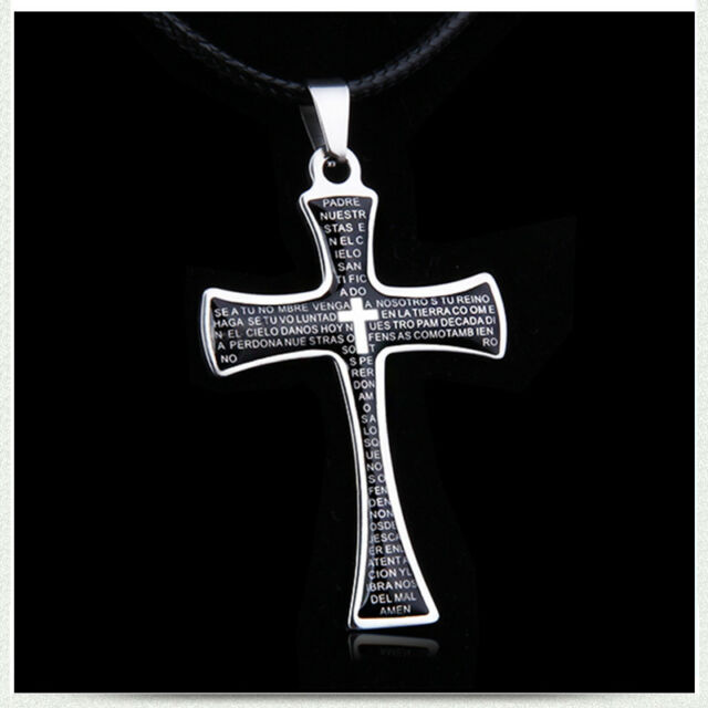 Men Women Black Cross crucifix Christian Pendent with Leather chain Necklace