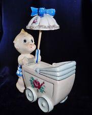 "Vintage Hand Painted Porcelain Kewpie Doll Pushing Baby Carriage Figurine 6 75"""