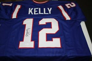 BUFFALO BILLS JIM KELLY  12 SIGNED JERSEY 4X AFC CHAMPS HOF 02 JSA ... f9b310b44