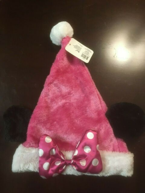 dbe26409e29b6 Disney Minnie Mouse Pink Christmas Santa Hat With Ears Bow for sale ...