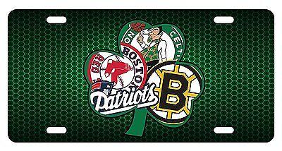 Boston sport teams combined logo novelty front license plate decorative vanity aluminum car tag