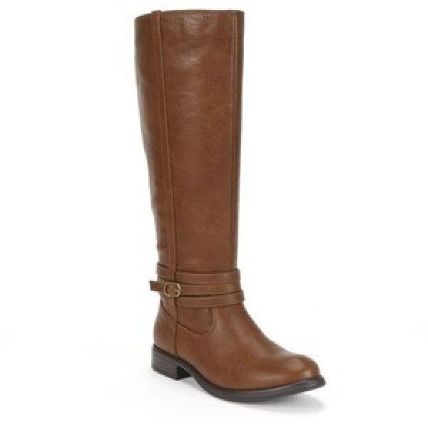 New~NIB~LAUREN CONRAD Tall Riding Boots~Cognac Brown~Size 6