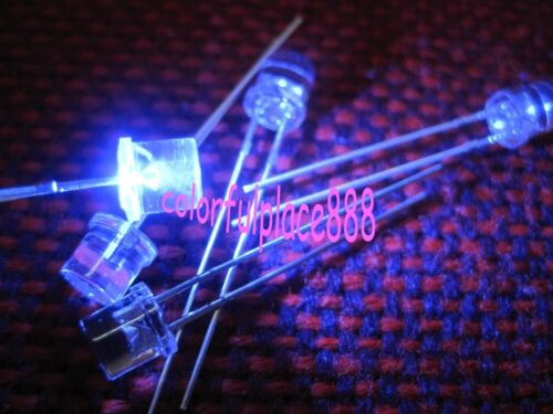 50pcs 5mm Blue 5000mcd Flat Top LED Water Clear Bright Leds Free Shipping New