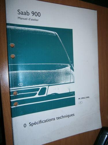 manuel atelier partie 0 spécifications de 1994 à 1995 Saab 900