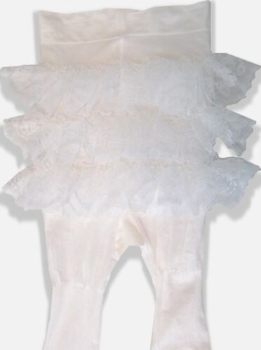 Adult WHITE Lacy Ruffle Butt Tights for Sissy Crossdresser Baby Dress up LEANNE