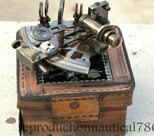 Vintage-Solid-Brass-Marine-Sextant-Nautical-Survey-Navy-Sextant-W-Leather-Box