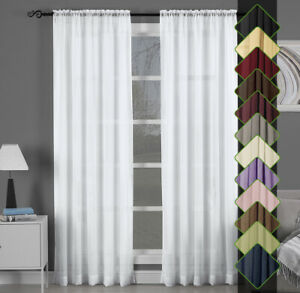 Abri-Rod-Pocket-Solid-One-Panel-Sheer-Curtain-Window-Drape-13-Colors-All-Sizes