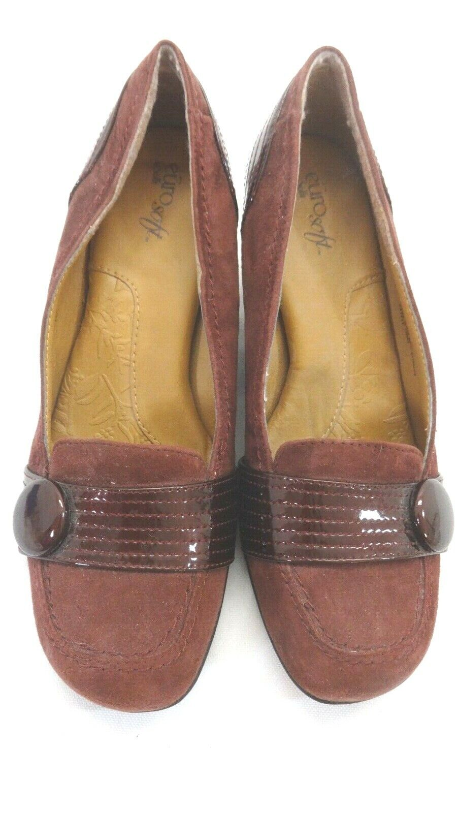 EURO SOFFT WOMENS BURGUNDY LEATHER LOAFERS CUSHION INSOLES SIZE 7.5