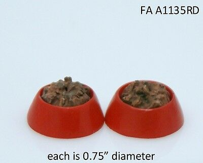 Dollhouse Miniature Set of 2 Brown Ceramic Dog Bowls