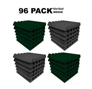 Acoustic-Foam-12x12x2-034-Wedge-96-Pack-Forest-Green-Gray-Combo-Soundproof-tile