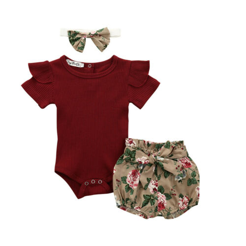 Details about  /Toddler Newborn Kid Baby Girl Romper Top+Floal Shorts Headband Outfit Clothe Set