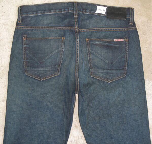 100% Vero Hudson Uomo Jeans Dandy Slouchy Dritto Scuro Sdrucito 33 X 33 Msrp Ultima Tecnologia