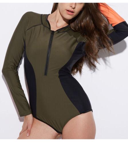 Women/'s One Piece Rash Guard Swimsuit Long Sleeve Surfing Swimwear Bikini Suits