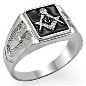 18k White Gold Ep Masonic Freemason Mens Ring Size 8 14