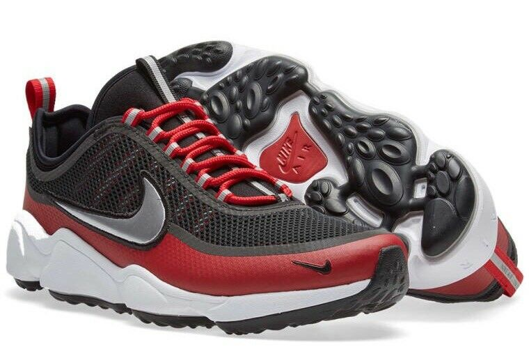 Nike Zoom Spiridon 876267-005 Nero Platino Rosso Taglia EU 38.5 24cm NUOVO Sautope classeiche da uomo