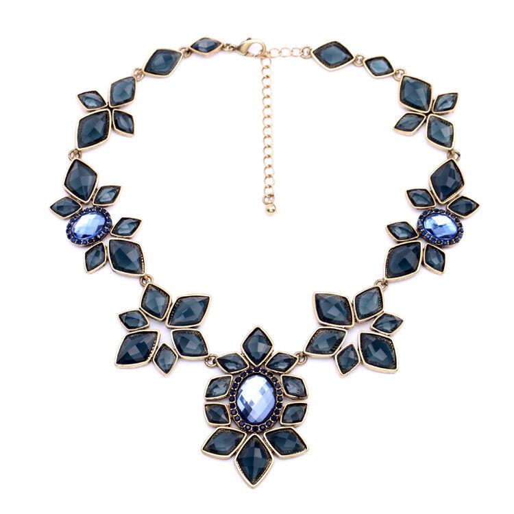 Halskette bluemen- art deco dunkelblue diamentine vintage Original Ehe OSC 2