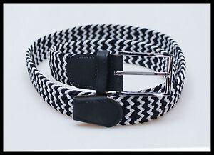 ceinture homme femme tressé élastique BLANC-BLEU ceinture ceinture ... 987aded4b84