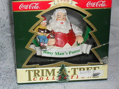"""Coca Cola Christmas Ornament /""""Santa with Elf Serving Coke/"""" issued 1994"""