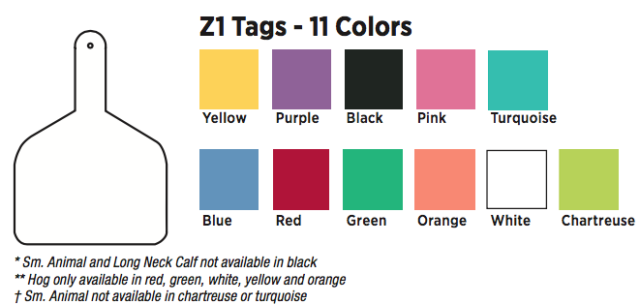 """Z-TAG CALF TAG ONE PIECE 2-3//8/"""" W x 3-1//4/"""" H Blank Short Neck RED 25 Count"""