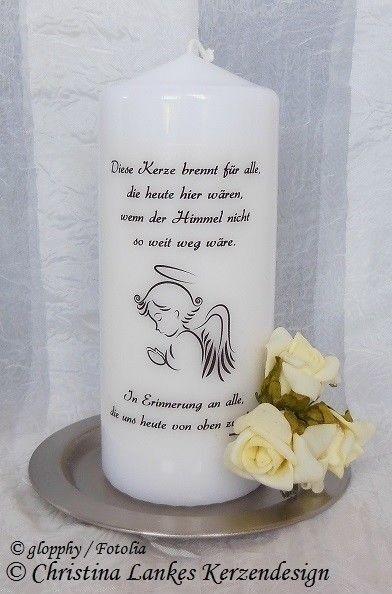 Gedenkkerze, Kerze verstorbene Angehörige, Andenken, Erinnerung | Sehr gute Farbe
