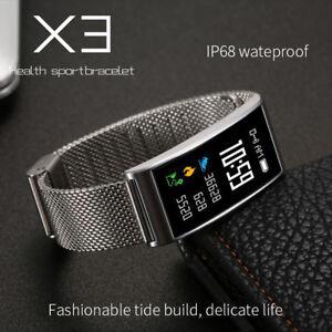 Smartband Farbdisplay Smartwatch Pulsuhr Blutdruck Fitnessarmband Tracker Silbe