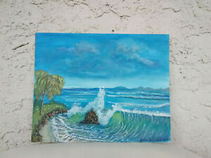 Original-Acrylic-Painting-8-x-10-Canvas-Panel-034-Paradise-034-Beach-Coastal-Art