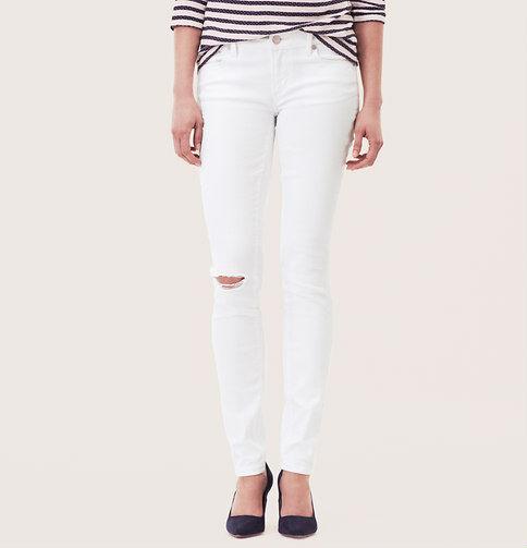 Ann Taylor LOFT Modern Skinny Jeans Pants in Destructed White Size 32 14 Petite